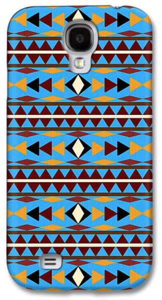 Navajo Blue Pattern Galaxy S4 Case by Christina Rollo