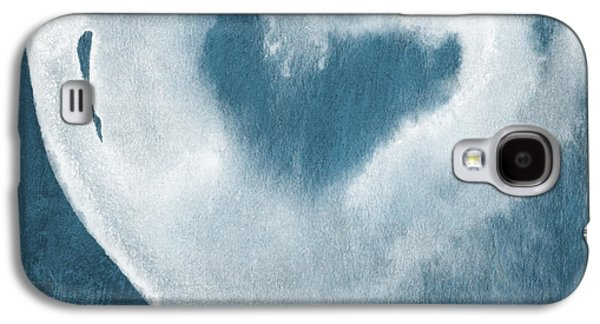 Navy Blue And White Love Galaxy S4 Case by Linda Woods