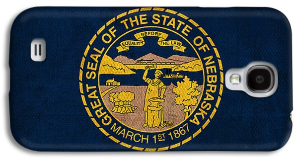 Nebraska State Flag Art On Worn Canvas Galaxy S4 Case by Design Turnpike