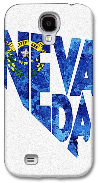 Nevada Typographic Map Flag Galaxy S4 Case