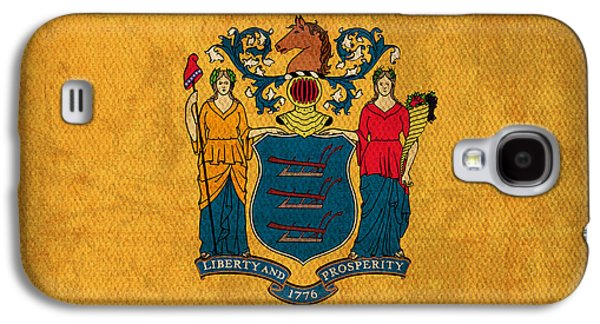 New Jersey State Flag Art On Worn Canvas Galaxy S4 Case