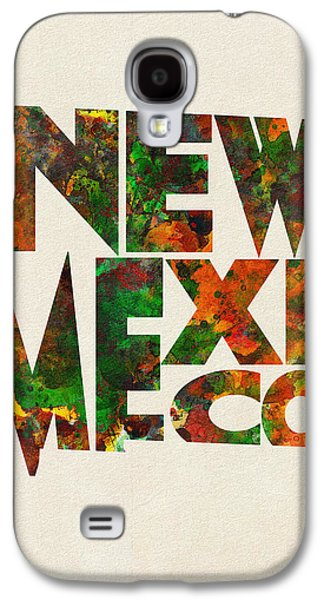 New Mexico Typographic Watercolor Map Galaxy S4 Case