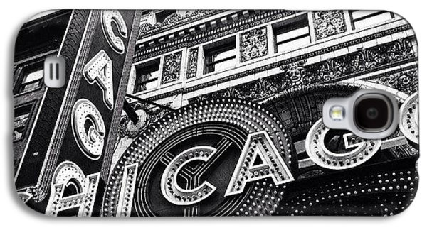 Architecture Galaxy S4 Case - Chicago Theatre Sign Black And White Photo by Paul Velgos