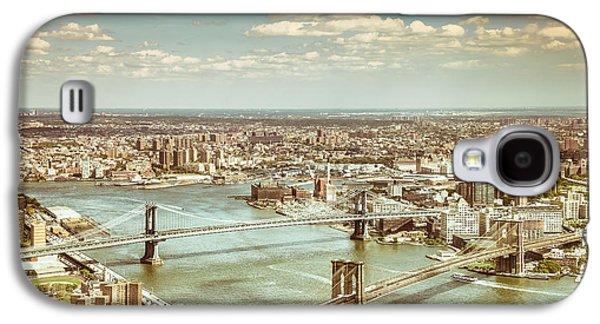 New York City - Brooklyn Bridge And Manhattan Bridge From Above Galaxy S4 Case