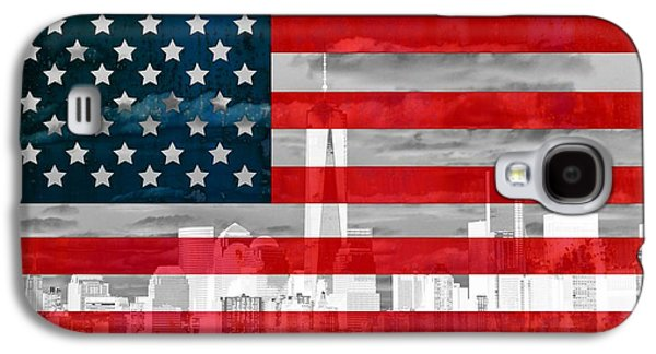 New York City Skyline And American Flag Galaxy S4 Case by Dan Sproul