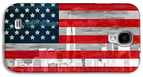 New York City Skyline And American Flag Galaxy S4 Case