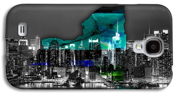New York Map And Skyline Watercolor Galaxy S4 Case