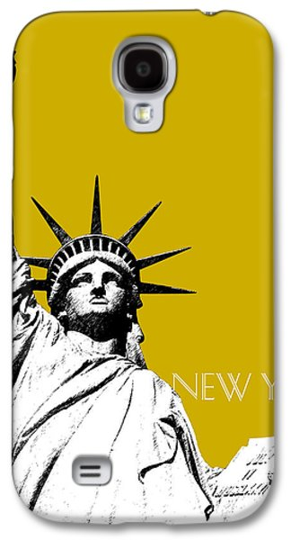 New York Skyline Statue Of Liberty - Gold Galaxy S4 Case by DB Artist