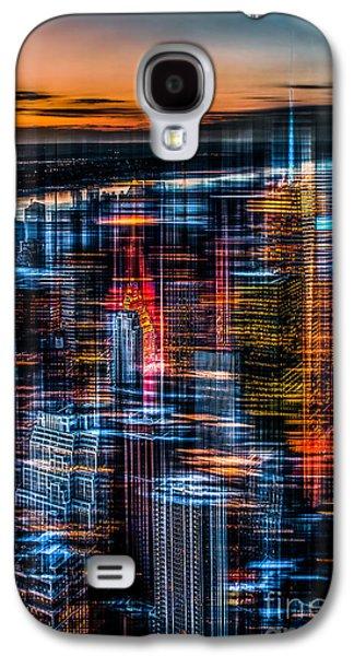 New York- The Night Awakes - Orange Galaxy S4 Case by Hannes Cmarits