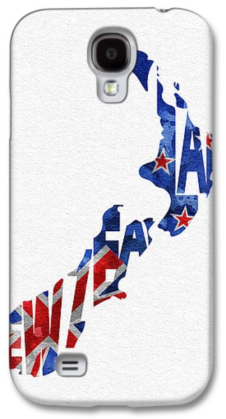 New Zealand Typographic Map Flag Galaxy S4 Case