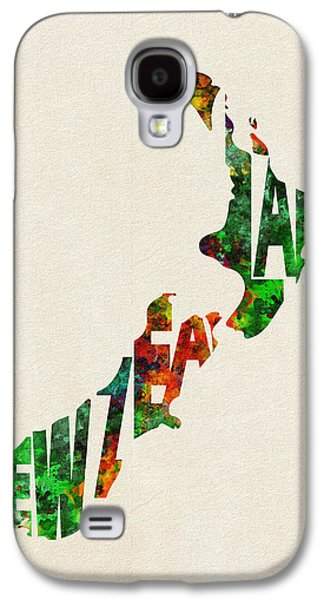 New Zealand Typographic Watercolor Map Galaxy S4 Case
