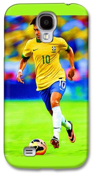 Neymar Soccer Football Art Portrait Painting Galaxy S4 Case by Andres Ramos