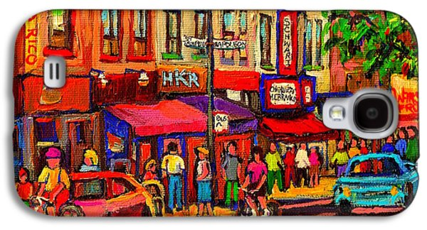 Night Riders On The Boulevard Rue St Laurent And Napoleon Deli Schwartz Montreal Midnight City Scene Galaxy S4 Case by Carole Spandau