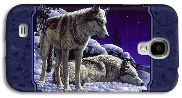 Night Wolves Painting For Pillows Galaxy S4 Case by Crista Forest