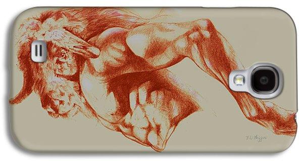 North American Minotaur Red Sketch Galaxy S4 Case by Derrick Higgins
