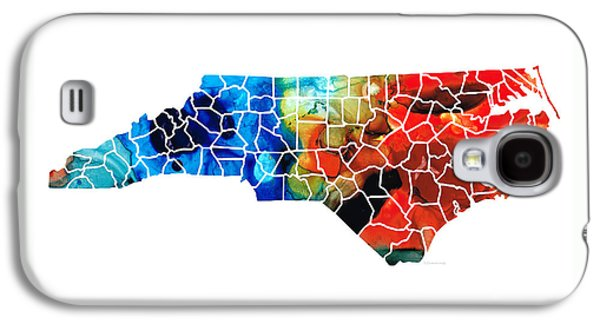 North Carolina - Colorful Wall Map By Sharon Cummings Galaxy S4 Case by Sharon Cummings