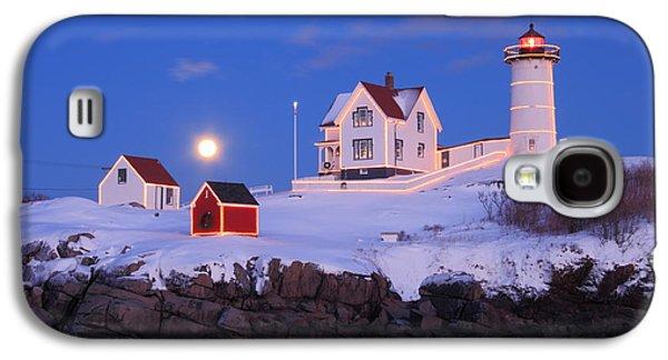 Nubble Lighthouse Winter Moon Galaxy S4 Case