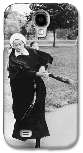 Nun Swinging A Baseball Bat Galaxy S4 Case by Underwood Archives