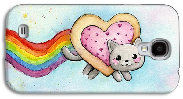 Cat Galaxy S4 Case - Nyan Cat Valentine Heart by Olga Shvartsur