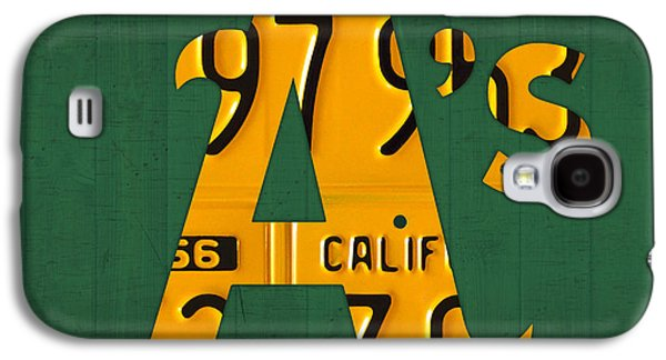 Oakland Athletics Vintage Baseball Logo License Plate Art Galaxy S4 Case by Design Turnpike
