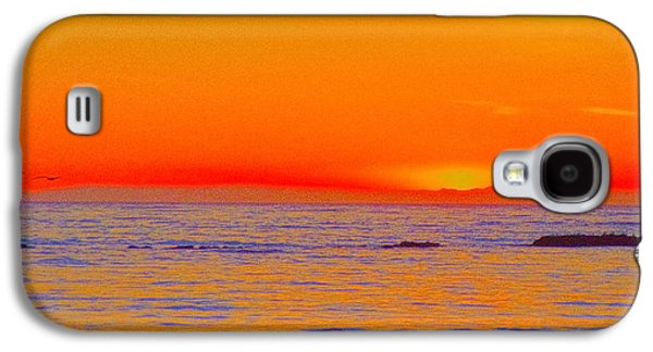 Ocean Sunset In Orange And Blue Galaxy S4 Case by Ben and Raisa Gertsberg