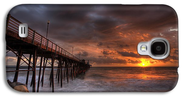 Dramatic Galaxy S4 Cases - Oceanside Pier Perfect Sunset Galaxy S4 Case by Peter Tellone