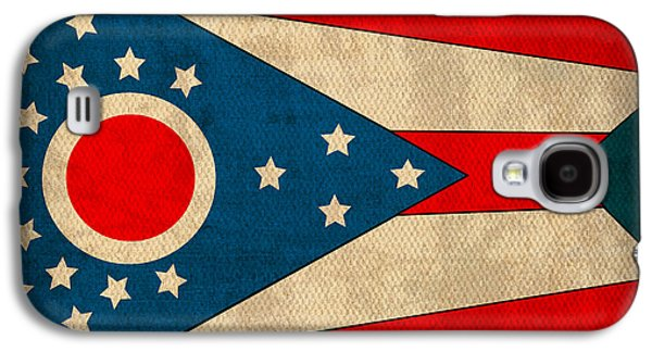 Ohio State Flag Art On Worn Canvas Galaxy S4 Case by Design Turnpike