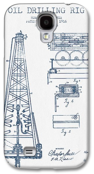 Oil Drilling Rig Patent From 1916 -  Blue Ink Galaxy S4 Case by Aged Pixel