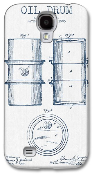 Drum Galaxy S4 Case - Oil Drum Patent Drawing From 1905 -  Blue Ink by Aged Pixel