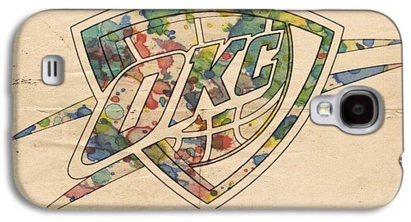 Okc Thunder Logo Art Galaxy S4 Case by Florian Rodarte
