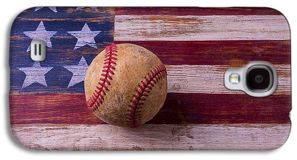 Old Baseball On American Flag Galaxy S4 Case by Garry Gay