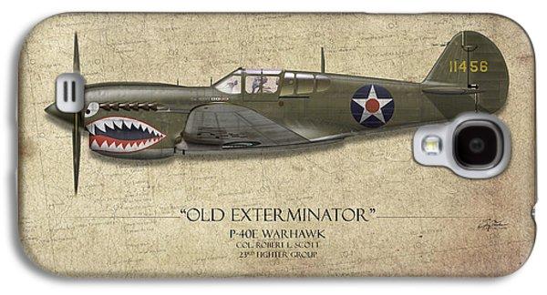 Old Exterminator P-40 Warhawk - Map Background Galaxy S4 Case by Craig Tinder