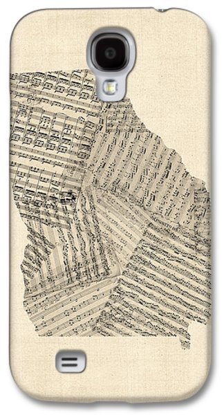 Old Sheet Music Map Of Georgia Galaxy S4 Case by Michael Tompsett