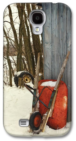 Old Wheelbarrow Leaning Against Barn/ Digital Painting Galaxy S4 Case