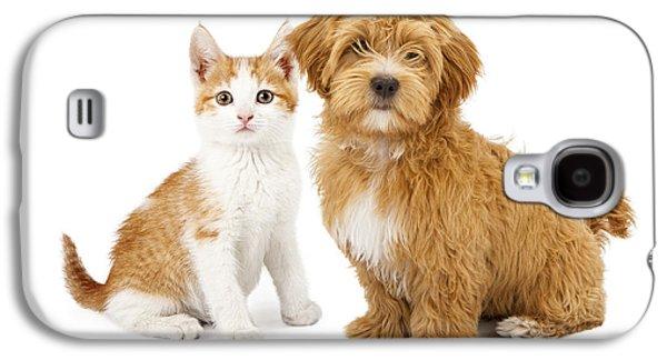 Orange And White Puppy And Kitten Galaxy S4 Case by Susan Schmitz
