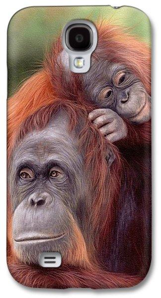 Orangutans Painting Galaxy S4 Case by Rachel Stribbling