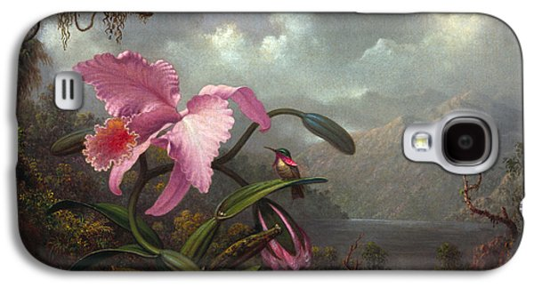 Orchid Galaxy S4 Case - Orchid And Hummingbir by Martin Johnson Heade