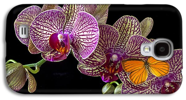 Orchid Galaxy S4 Case - Orchid And Orange Butterfly by Garry Gay