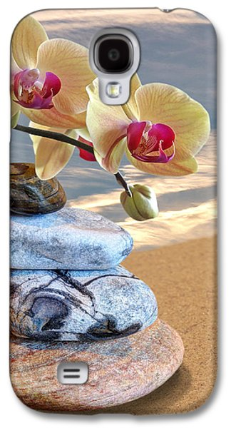 Orchids And Pebbles On Sand Galaxy S4 Case by Gill Billington