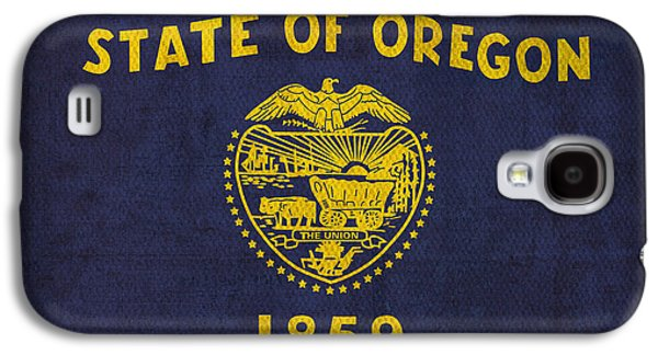 Oregon State Flag Art On Worn Canvas Galaxy S4 Case by Design Turnpike