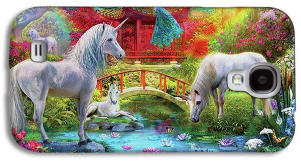 Galaxy S4 Case featuring the drawing Orietnal Unicorns by Jan Patrik Krasny