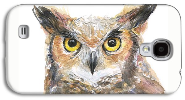 Owl Watercolor Portrait Great Horned Galaxy S4 Case by Olga Shvartsur