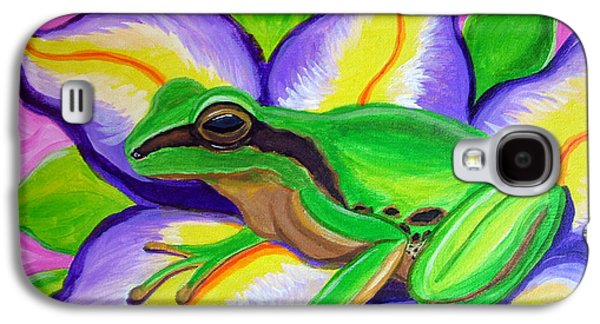 Pacific Tree Frog And Flower Galaxy S4 Case by Nick Gustafson