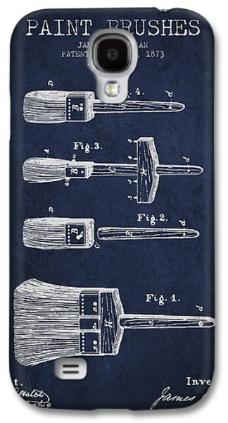 Paint Brushes Patent From 1873 - Navy Blue Galaxy S4 Case by Aged Pixel