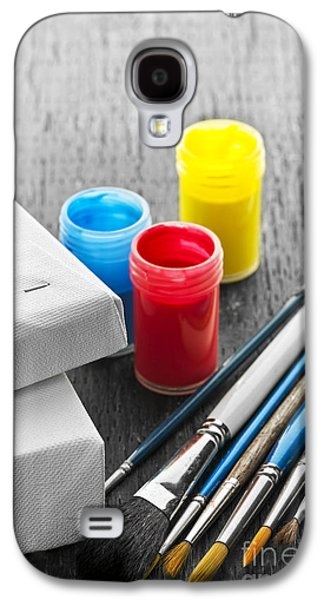 Paintbrushes With Canvas Galaxy S4 Case by Elena Elisseeva
