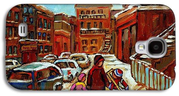 Paintings Of Baron Byng High School St Urbain A Winter Walk Down Memory Lane Montreal Art Carole  Galaxy S4 Case by Carole Spandau