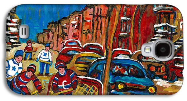 Paintings Of Montreal Hockey City Scenes Galaxy S4 Case