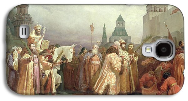 Palm Sunday Procession Under The Reign Of Tsar Alexis Romanov Galaxy S4 Case by Viatcheslav Grigorievitch Schwarz