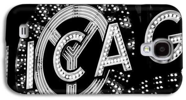 Panoramic Photo Of Chicago Theatre Sign In Black And White Galaxy S4 Case by Paul Velgos