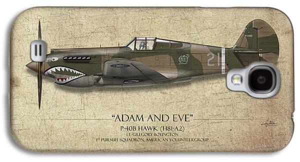 Pappy Boyington P-40 Warhawk - Map Background Galaxy S4 Case by Craig Tinder